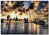Panorama Poster Big Ben Sunset Poster 70 x 50 cm - Gedruckt