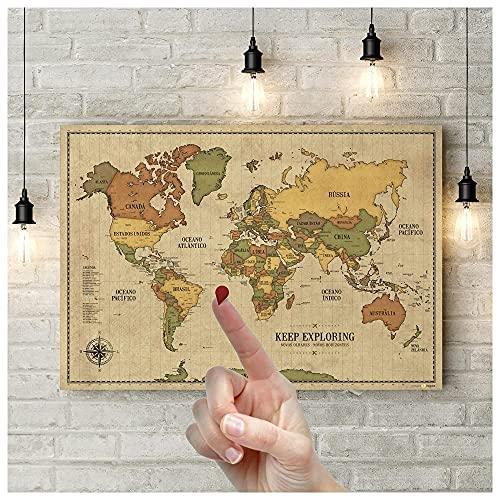 Pôster Mapa-Múndi Vintage A1 (84x59cm) + 220 Pins Adesivos p/Marcar suas Viagens