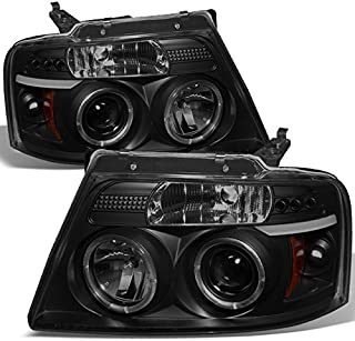 For Ford F150 F-150 Pickup Black Smoke Dual Halo LED G2 Projector Headlights Front Lamps Replacement