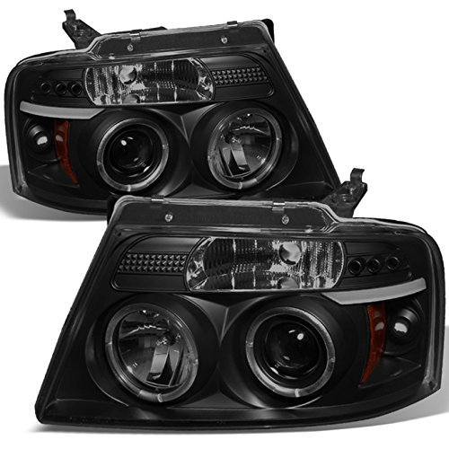 For Ford F150 F 150 Pickup Black Smoke Dual Halo Led G2 Projector Headlights Front