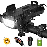 LAMA 4 in1 Solar Bike Lights, 4000mAh Bicycle Front Lamp 550 Lumens USB Rechargeable Waterproof Cycling Light with Cellphone Charger, 130DB Horn Bell, Phone Bracket Holder (Black)