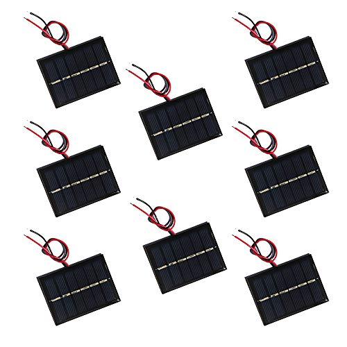NUZAMAS Juego de 8 piezas de 3 V 65 x 48 mm Micro Mini Panel Solar Cableado Para Energía Solar Energy, DIY Hogar Luz de Jardín, Proyectos Científicos - Juguetes - Cargador de batería