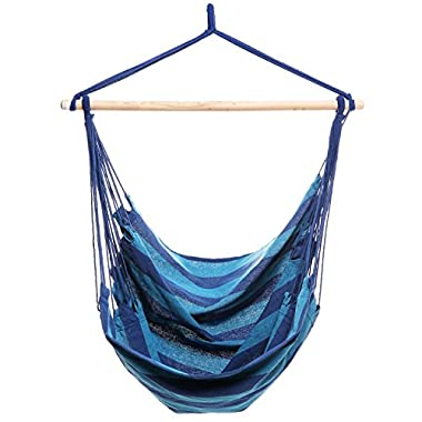 Homdox Hanging Rope Hammock Chair Porch Swing Seat for Indoor or Outdoor Spaces Max.265 Lbs with One Spreader Bar Blue