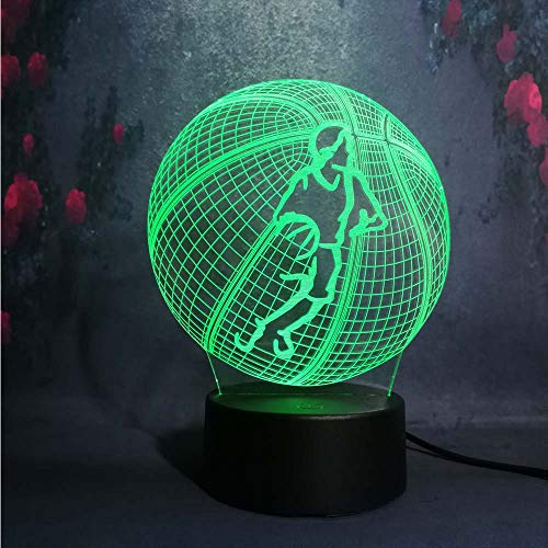 Creative Touch RC Lampada da tavolo da scrivania in acrilico a distanza 3D LED USB Ragazzo teenager Amore Pallacanestro Illusione sportiva Lampadina notturna