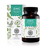 NATURE LOVE Zinc - 365 comprimidos por un inventario del año. 25 mg de zinc. Gran biodisponibilidad de bisglicinato de zinc. Altamente concentrado, vegano, fabricado en Alemania.