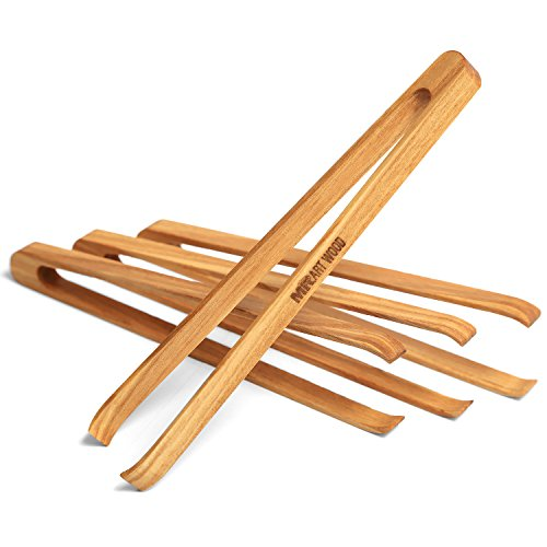 Mr.Art Wood Mini Wooden Appetizer Tongs (Pack of 4), 15,5 cm Generous Length, Lightweight, Easy Grip, 100% Natural One-Piece Ash Wood