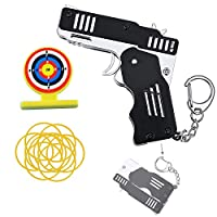 Rubber Band Gun Toy, Mini Metal Folding Rubber Launcher Toy Gun with Keychain for Shooting Game Outdoor Activities (black)