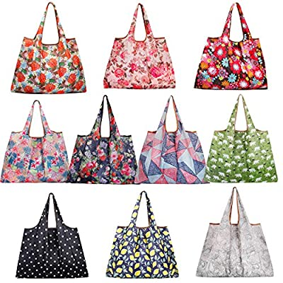 Reusable Grocery Bags,10 Pack Extra Large Foldable Nylon Tote Bag Heavy Duty Washable Eco Friendly Shopping Bags with Pouch attached