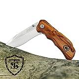 TS Knife SCOUT II 90bw Navaja de apertura asistida con empuñadura de madera | Longitud hoja: 9 cm | Navaja plegable de bolsillo para exterior y campamento | Cuchillo Senderismo, Camping
