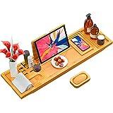 Biemlerfn Bandeja de bambú para bañera extensible, organizador para spa,...