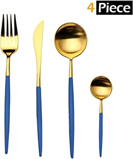 Flatware Set of 4 Piece, MHKBD Stainless Steel Tableware Sets Antique Gold Finished Polished Cutlery Sets Heavy Duty Utensils Include Knife Fork Spoons for Kitchen Party Hotel Restaurant, Blue