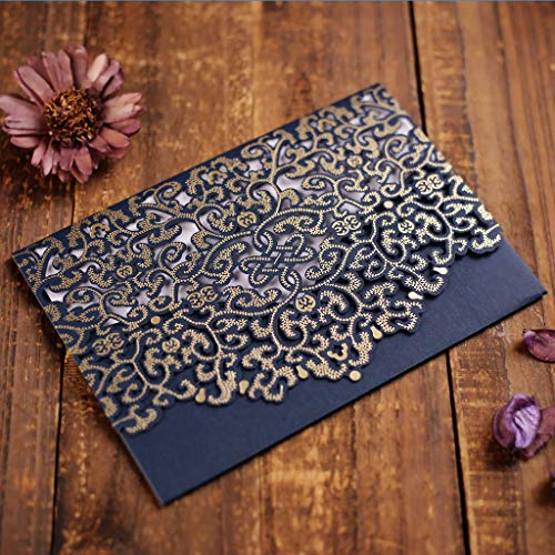 CYSKY Tarjeta de invitación de boda Paquete de 50 invitaciones de boda de corte láser con papel imprimible en blanco y sobres para la graduación de cumpleaños de bodas (A)