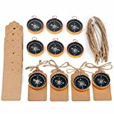 iMagitek 10 Pack Compass Gifts Tags Decorations for Travel Themed Birthday Wedding Party Souvenir Gift Favors