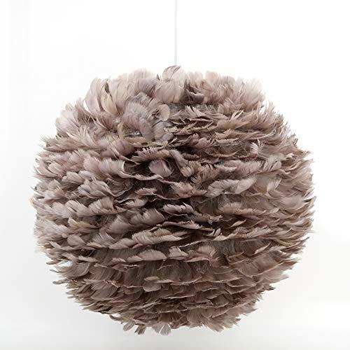 dasmöbelwerk Pendelleuchte Gänsefeder Hängelampe Feder Leuchte grau E27 Ø 45 cm