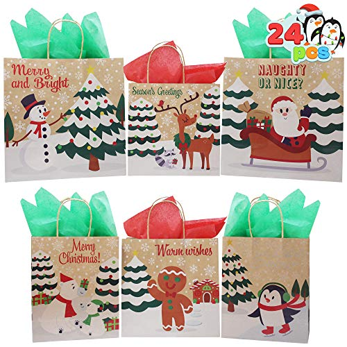 24 Bulk Christmas Holiday Kraft Paper Gift Bags with Assorted Sizes for Xmas Goody Bags, School Classrooms and Party Favors