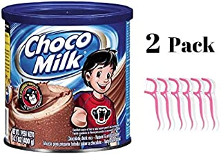 Choco Milk Powder Drink Mix, 14.1 oz (2 pack) Bundled with 20ct Dental Flossers in a Prime Time Direct Sealed Bag