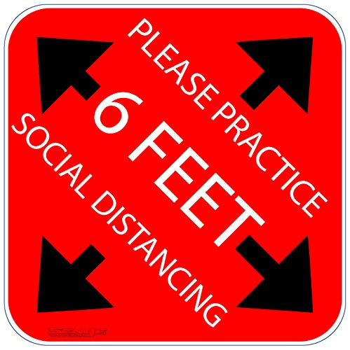 PACK OF 10. WITH ANTI SLIP COATING. Please practice social distancing floor sign. Covid 19 Coronavirus Safety sign. 7' X 7' Pressure sensitive adhesive. Pressure sensitive vinyl, made to walk on.