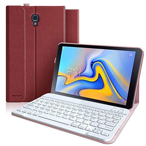 Funda con Teclado Samsung Galaxy Tab A 10.5 2018 SM-T590/T595/T597, Teclado Español (Incluye Ñ) Bluetooth Desmontable-Funda Magnética con Smart Auto Sleep-Wake para Samsung Tab A 10.5 2018 (Vino rojo)