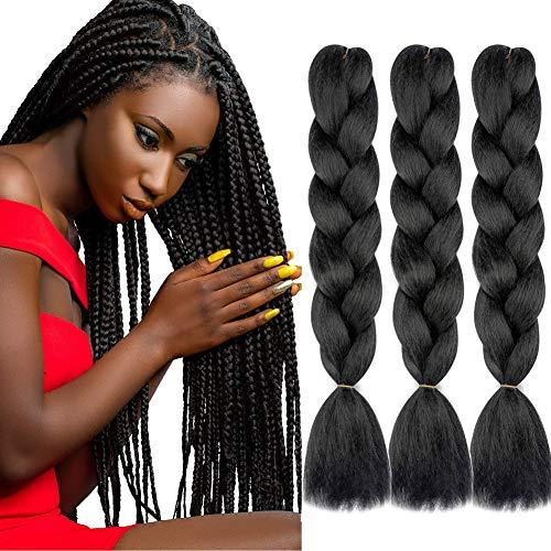 "Colorfulpanda 24"" Braids Extensions Jumbo Braids Kunsthaar 3 Bündel Kanekalon Synthetik Crochet Hair Jumbo Braid Haarverlängerung Hochtemperaturfaser(Schwarz)"