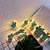 Schneemann Batterie Patrone Lampe Lichterkette im Freien Weihnachtsbeleuchtung Raumbeleuchtung LED Weihnachten Lichterkette, Kaktus, Batterie Patrone 10 Lichter 2 m