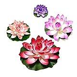QWEA Paquete de 10 Flores flotantes Artificiales Impermeables Flor de Loto para decoración de acuarios de Boda Colores Surtidos (tamaño: 18 cm) (Color: Rojo)