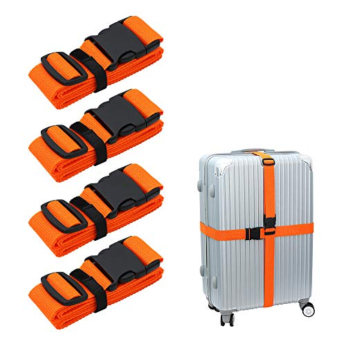 Luggage-Straps Suitcases-Belt TSA Approved - Adjustable 86 inch with Quick-Release Buckle and Organized Belt Travel Accessories Orange 4PCS