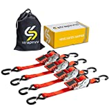 STRAPINNO 4pcs Retractable Ratchet Straps (1-in x 6-ft), Secure Tie-Downs with Rubber-Coated Steel Handles, S-Hooks & Durable Hardware for Daily Use with Breaking Strength - 1,500LBS/680KG Each