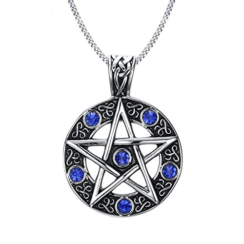 LAFATINA Celtic Pentacle Powerful Necklace, Vintage Seal of Solomon Wicca Traditional Pentagram Astrolabe Pendant Necklace, Blue