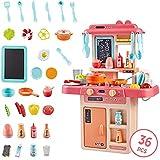 YUELAI Cocina Infantil con Luz Y Sonido,36 Tipos De Accesorios De Cocina con Comidas Divertidas, Juguetes De Cocina De Simulación(Pink)