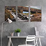 Canvas Pictures sticker Murals ,Landscape Old Rustic Oak Covered Bridge over Cascading Waterfalls Rock Fall Season American City,for Living Room,Dinning Room, Bedroom 3 panels,24x35inchx3pcs Brown