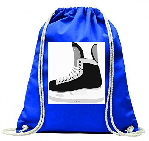 'Turn Bolsa '–Patines de hockey sobre hielo de deportes de invierno con cordón–100% algodón de bolsa Con Asas De Mochila de bolsa de deporte, azul