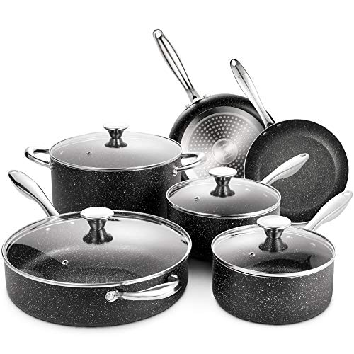 Nonstick Cookware Set Induction, 10 Piece Stone-Derived Cooking Pots and...