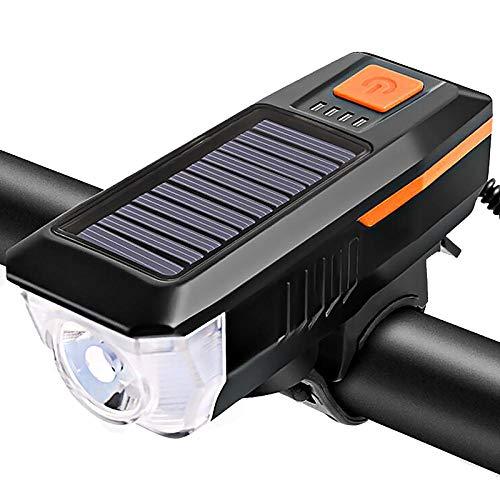 Santiling Luz solar para bicicleta con cuerno T6 LED Road Mountain Bike Frontal USB Recargable Faro 3 Modos Ciclismo Cabeza Lámpara-Naranja