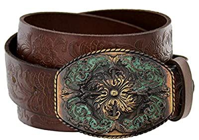 "Women's Western Tooled Full Grain Leather Jean Belt Brown 1.5"" Wide (Brown, 34)"