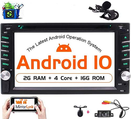 Android 10.0 OS Car Stereo Double Din Head Unit Car DVD CD Player GPS Navigation 6.2 inch Car Radio Bluetooth WiFi Mirrorlink Support 1080P Video USB SD OBD2/Subwoofer/DAB/4G Free Front & Rear Cameras