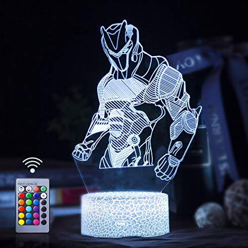 Omega 3D LED Lampe mit Motiven aus festungslampe, 3d illusion lampe Stimmungslampe, Battle Royale, mit 7 Farben Farbwechsel, Crack Acryl, Stereo Illusion Tischlampe