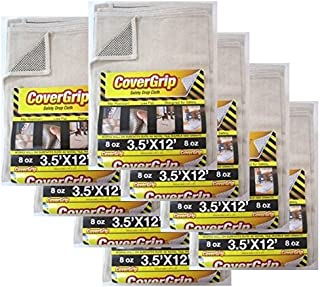 CoverGrip 8 Oz Canvas Safety Drop Cloth, 3.5' x 12', (Pack of 8)