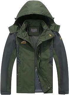 Spmor Men`s Outdoor Sports Hooded Windproof Jacket Waterproof Rain Coat
