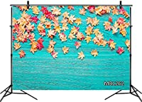 HD 10x7ft Fall Photo Backdrop Autumn Maple Leaves Green ue Rustic Barn Wood Photography Background Party Banner Decorations Customized Photo Booth Props