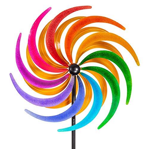 CIM Metall Windrad XL - Kinetic Spinner 60cm - Sichelrad - Abmessung: Ø 60cm Gesamthöhe: 195cm - wetterfest, pulverbeschichtet – außergewöhnliche Gartendeko