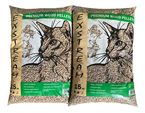 Exstream Wood Based Cat Litter 2 x 30litre bags, Total of 30kgs of Ultra Absorbent Pine, Suitable for Small Animal