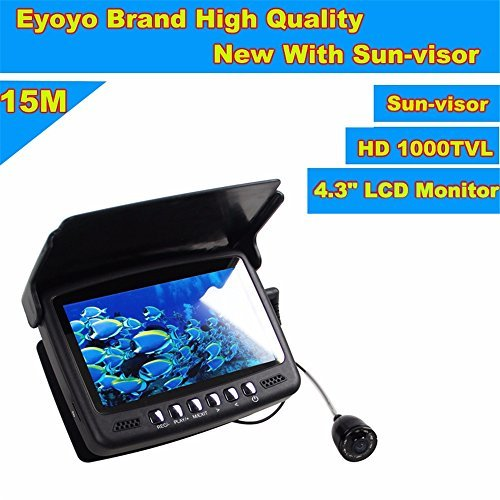 Eyoyo 15M 4.3' LCD Ice/Sea Fish Finder 1000TVL Underwater Fishing Camera with Sun-Visor