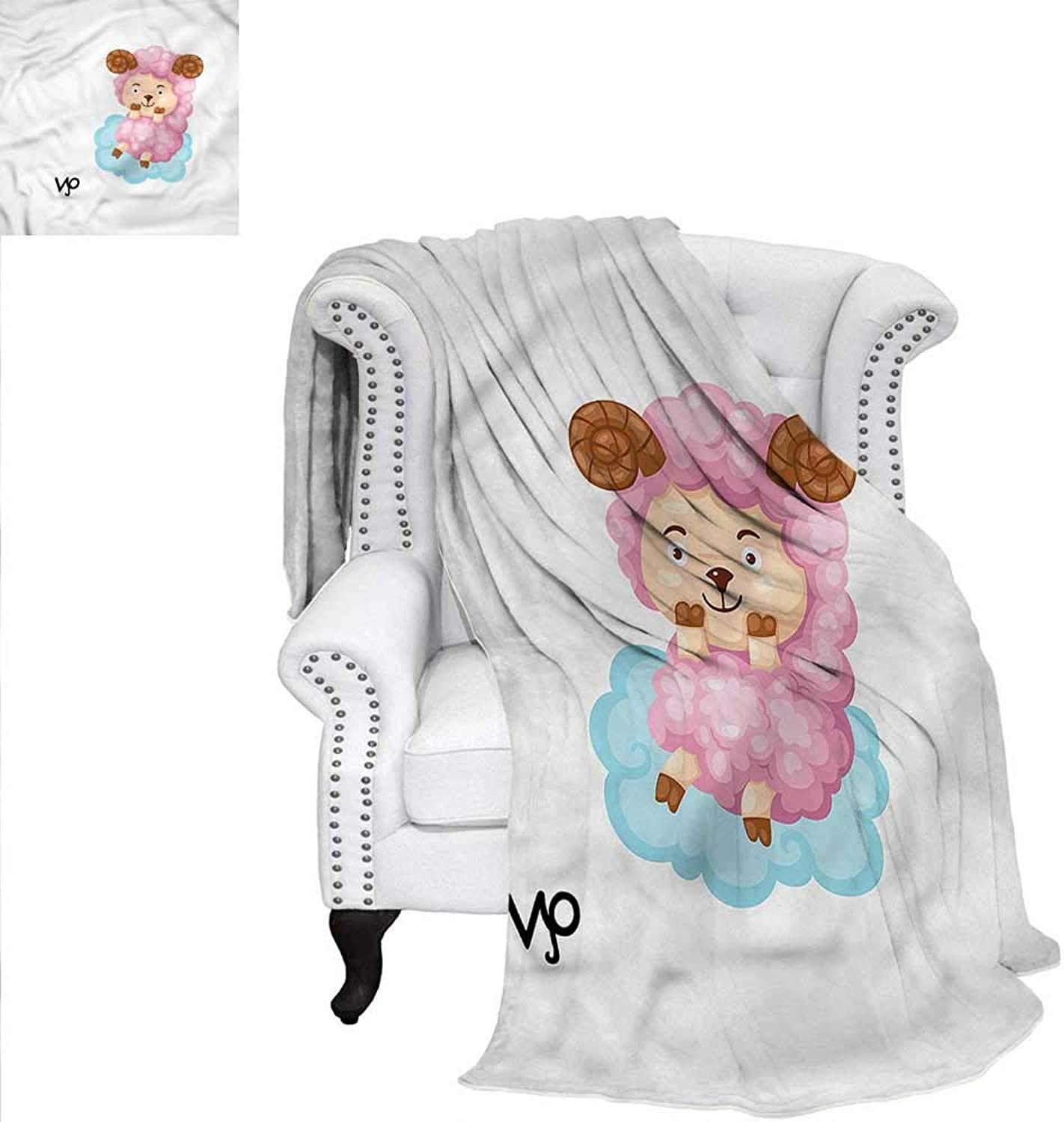 RenteriaDecor Zodiac Aries Warm Microfiber All Season Blanket Cartoon Sheep Kids Warm Microfiber All Season Blanket for Bed or Couch 60 x50