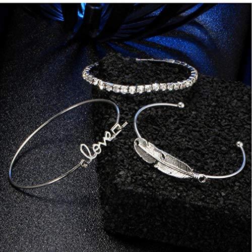 onedayday 3 Stück/Set Charm Armbänder & Armreifen für Frauen Leaf Love Design Romantisches Silberarmband Hochzeitsschmuck