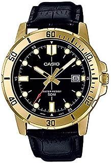 ساعة كاجوال جلد من كاسيو للرجال، اسود - MTP-VD01GL-1EVUDF