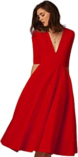 eeb5016be1c5 YiJee Donna Elegante Donna Vestito Lunghi V-Collo Midi Lungo Abito da Sera
