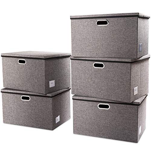 Prandom Extra Large Collapsible Storage Bins with Lids [5-Pack] Linen Fabric Foldable Storage Baskets Boxes Organizer Containers Cube with Cover for Bedroom Closet Office Nursery (22.8x15.75x13.8')