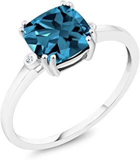 10K White Gold Cushion London Blue Topaz and Diamond Accent Engagement Right-Hand Ring 2.74 Ctw (Available 5,6,7,8,9)
