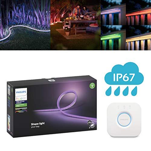 Preisvergleich Produktbild Philips Hue White and Color Ambiance Outdoor LED Lightstrip,  5 Meter& Philips Hue Bridge / RGBW Lichtschlauch für den Außenbereich