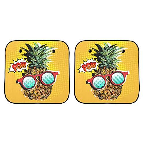Preisvergleich Produktbild Schatten für Autofenster Pop Art Comic Poster Bild Ananas Windschutzscheibe Sonnenschirme für Auto Faltbar 2-teilig Für die meisten Limousinen Geländewagen Schützen Sie das Fahrzeug vor UV-Sonne und